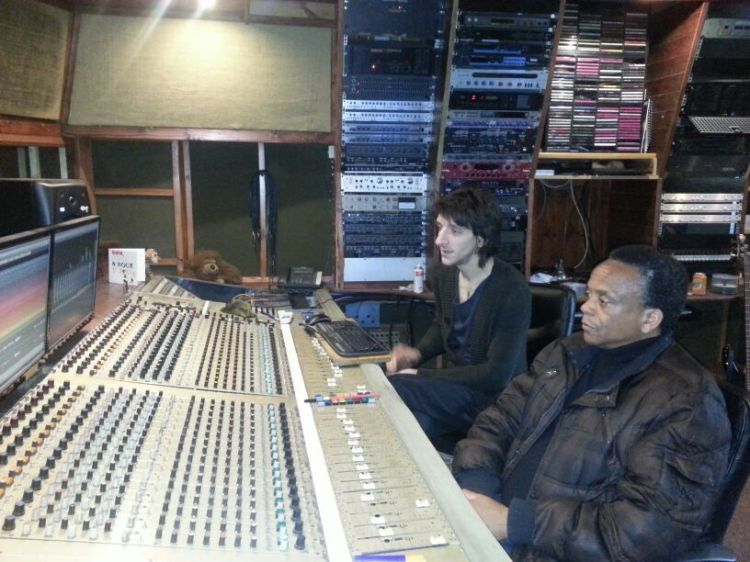 B 'African' with sound engineer, Jason Ducken at The Lodge Recording Studios in Northampton, UK.