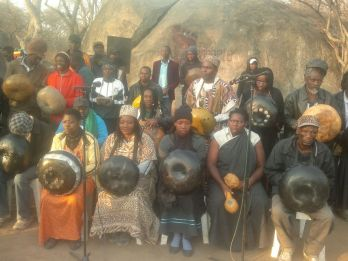 Showing some female players as part of the Mbira Orchestra